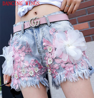 short femme ete 2018 Fashion Embroidery Lace Bead Flower Slim Denim Shorts Personality Summer Hot