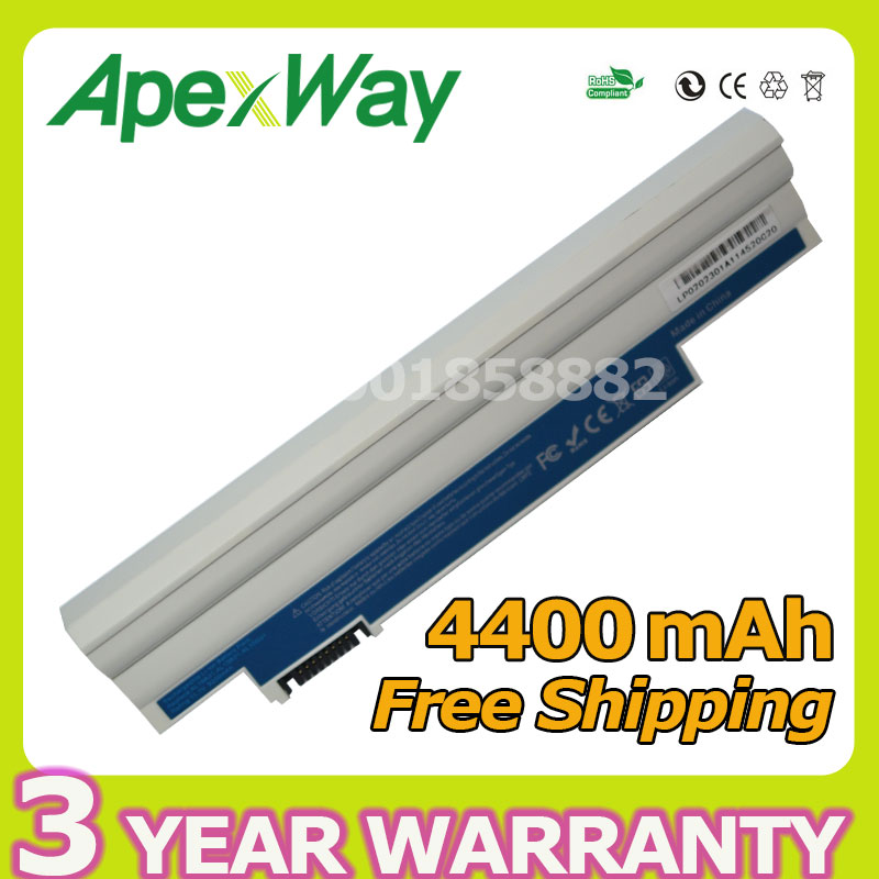 Apexway White Laptop Battery For Acer Aspire one D255 D257 D260 D270 522 722 AL10A31 AL10B31 AO522 AOD255 AOD257 AOD260 AC700 laptop motherboard for aspire one 522 ao522 p0ve6 la 7072p mbsfh02001 amd c60 ddr3