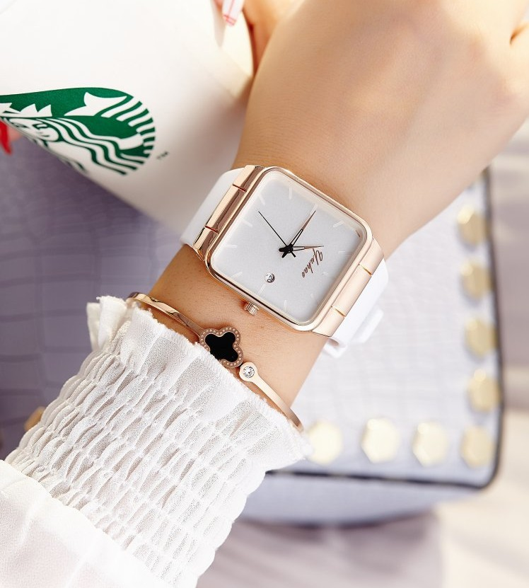 2017 Brand Women Watches Women Silicone Square reloj mujer Luxury Dress Watch Ladies Quartz Rose Gold Wrist Watch Montre Femme guou brand ladies watch full rose gold steel band high quality quartz wristwatches women watches saat reloj mujer montre femme