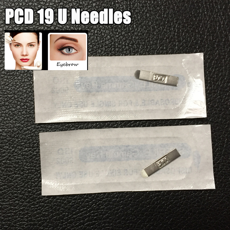 PCD 19 U Needles 50pcs Permanent Makeup Blades Eyebrow Needles 19 Manual Eyebrow for Tattoo Pen Needles Free Shipping