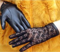 秋冬本物のシープスキン女性手袋エレガントなファッションセクシーなレースブラックミトン