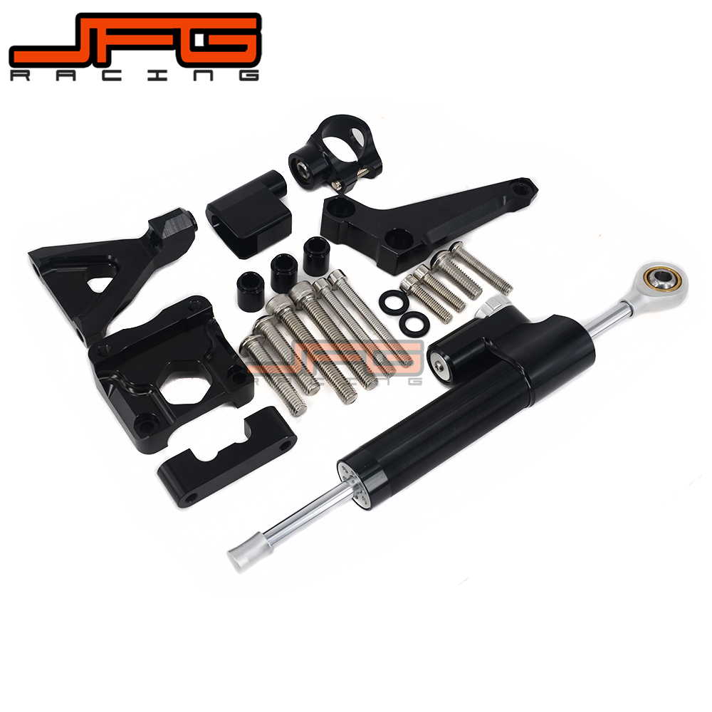 CNC Steering Damper Stabilizer Linear Reversed Safety Control & Adapter Bracket For KAWASAKI Z250 Z300 Z 250 300 2015 2016 15 16 cnc steering damper stabilizer linear reversed safety control & adapter bracket for honda cb400 cb 400 vtec 1999 2000 2001 2012