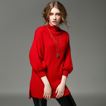 2016 High Quality Spring Lantern Sleeve Fashion Casual Leisure Breathable Warm Sweater Women Wear Resistant Red Long Pullovers
