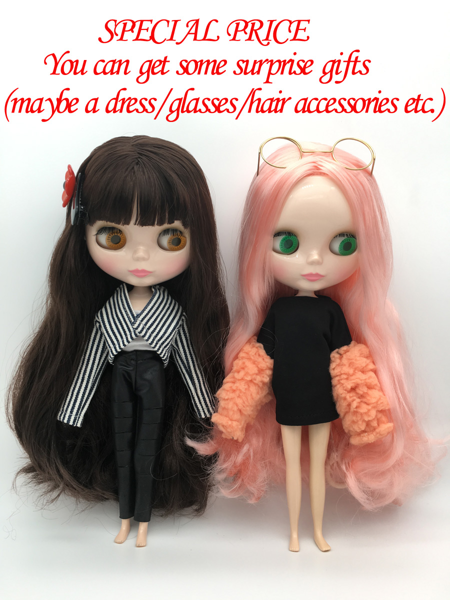 Special price <font><b>BJD</b></font> joint T1-8 DIY Nude Blyth doll birthday gift for girl 4 colour big eyes dolls with beautiful Hair cute toy image