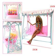 NK One Set Doll Accessories Princess Cute Garden Swing For barbie Doll furniture Kurhn Doll play house toys for children(China)