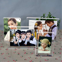 Freestanding Double Sided Photo Seethrough Acrylic Magnetic Photo Picture Frame With Round Corner