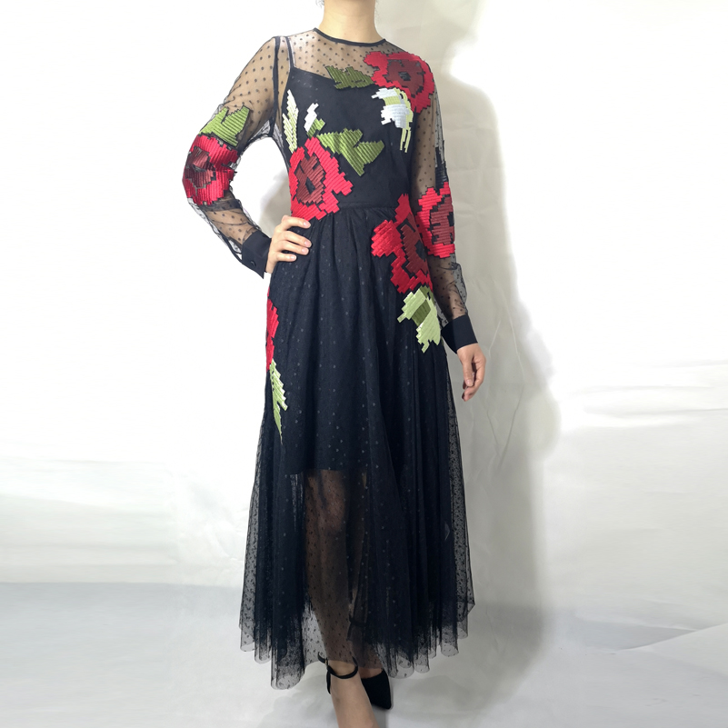 High quality 2019 fashion designer summer long dress Women s Long Sleeve Dot Mesh Embroidered Vintage