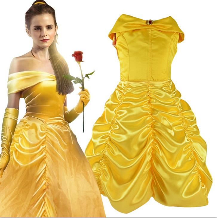 2017 Kids Girl Beauty and beast cosplay carnival costume kids belle princess dress for Christmas Halloween Dress For Girls christmas cosplay costume lace up velvet cami dress