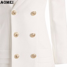 New Fashion Suit Women Blazer Workwear White With Ruffle Office Ladies Long Blaser Clothing Fall Golden Button Spring Winter Top