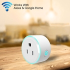 10A Round Shape WiFi Mini Plug APP Remote Control Timing Smart Socket Works with Alexa & Google Home & Colorful Breathing Light