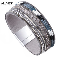 ALLYES Leather Bracelets For Women 2019 Crystal Bohemian Ladies Multilayer Wide Wrap Bracelet Female Femme Vintage Party Jewelry(China)