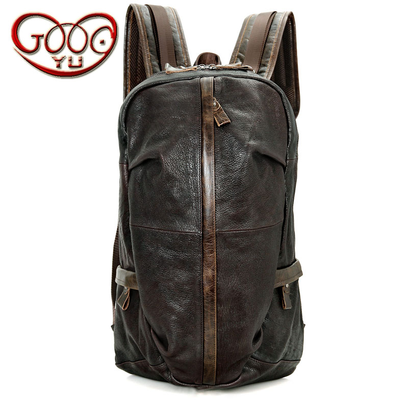 Fashion personality solid color leather cylinder long section large capacity backpack