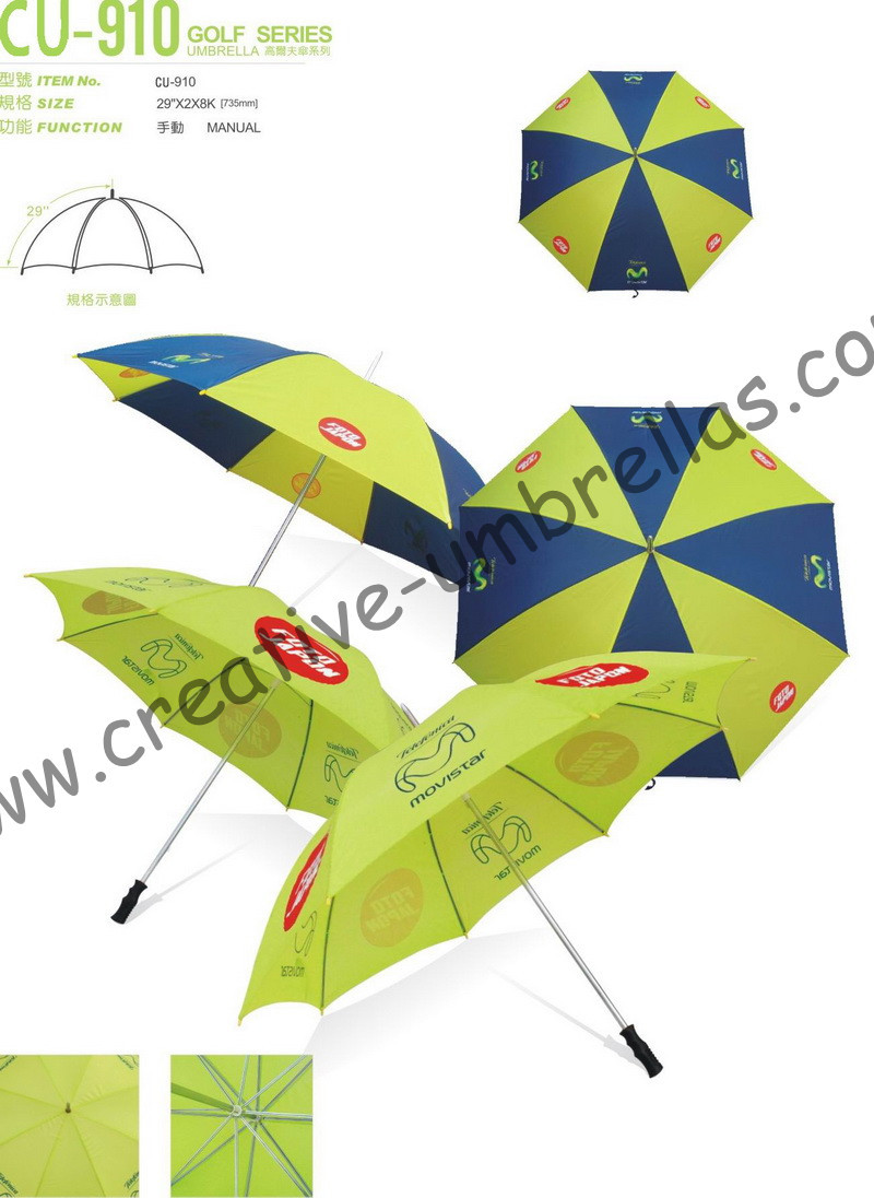 Free shipping by sea,190T polyester fabric 14mm metal shaft and ribs,hand open advertising movistar golf umbrella,windproof