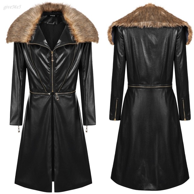 8044ecb0383 Stylish Women Winter Clothing Casual Detachable Fur Collar Removable PU  Leather Short/ Long Switchable 2 Types Jacket Coat