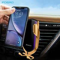 Cargador inalámbrico para coche para iPhone 11 XS Max XR X 8 Samsung S9 S10 Sensor infrarrojo automático Qi 10W soporte para teléfono de coche de carga rápida