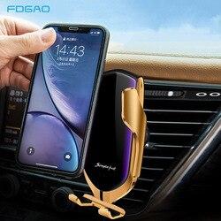 Carregador de carro sem fio para iphone 11 xs max xr x 8 samsung s9 s10 sensor infravermelho automático qi 10 w carregamento rápido suporte do telefone do carro