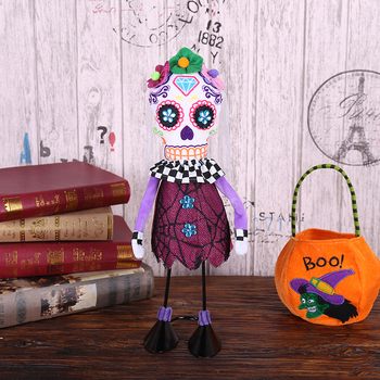 Halloween Standing Skull Soft Cloth Dolls Toy Creative Ornamentst Stuffed Filling Cotton Cloth Dolls Halloween Home Party Props 2