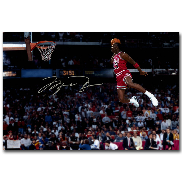 967813d32805 Michael Jordan Foul Line Dunk Art Silk Fabric Poster Print 13x20 24x36 inch  Sport Pictures for Living Room Wall Decor 018