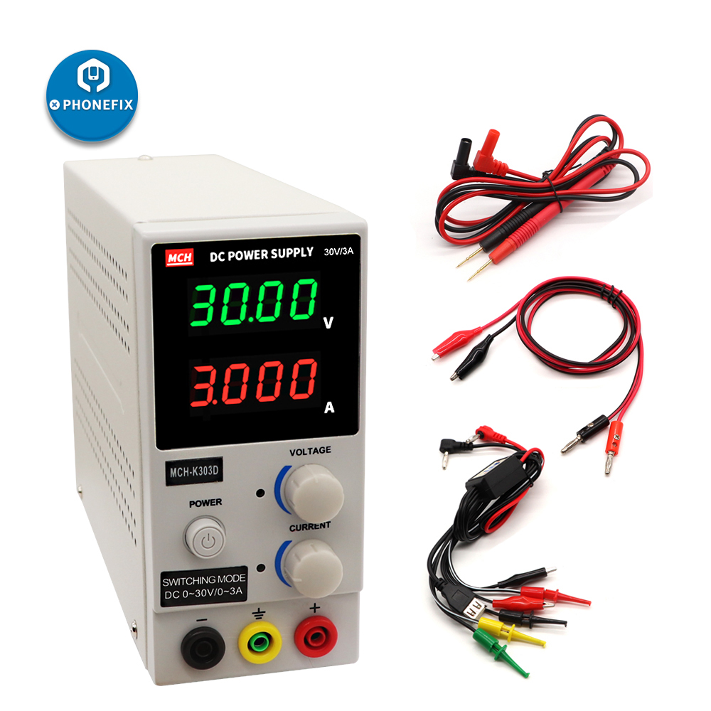 PHONEFIX MCH K305D MCH K303D Mini Switching Regulated Adjustable DC Power Supply SMPS Single Channel 30V 5A Variable With Cable
