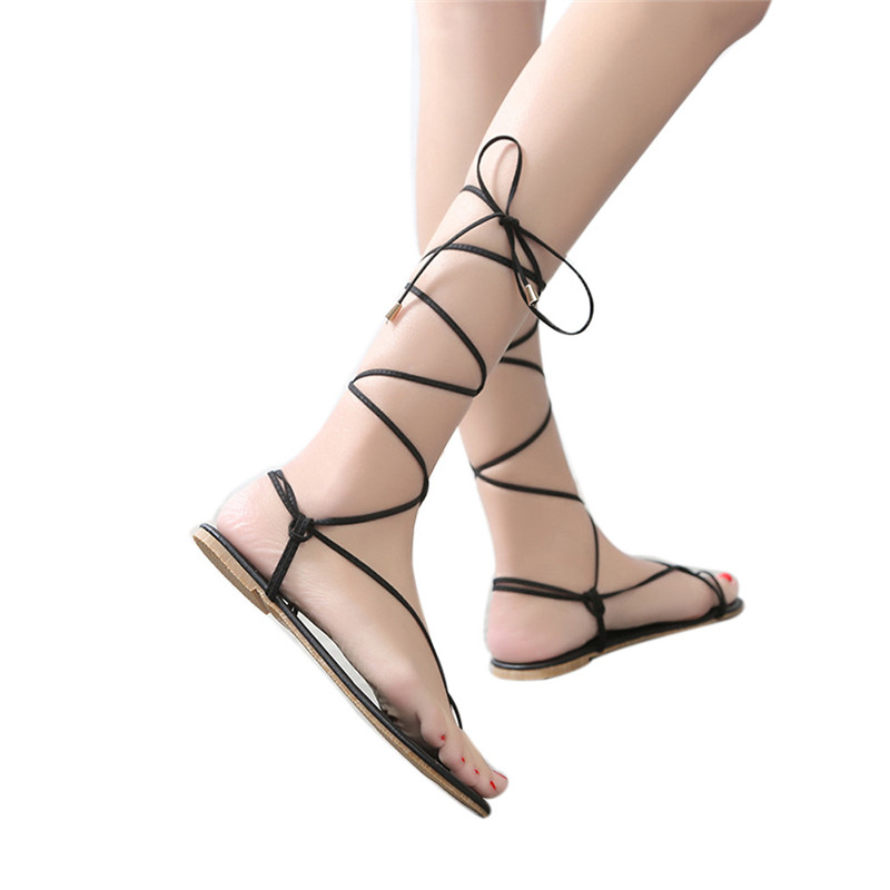 2018 Women Roman Style Sandals Summer Flats Sexy Knee High Boots Bandage Clip Toe Sandals Women Casual Flats Shoes Designer
