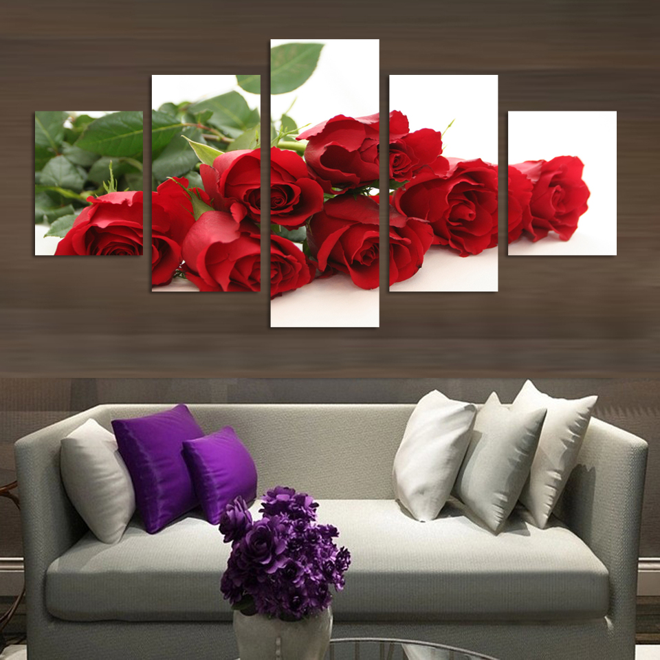 Romnatic Design Red Rose Flowers Painting Home Decoration Wedding Wall Canvas Art 5 Piece Modern HD