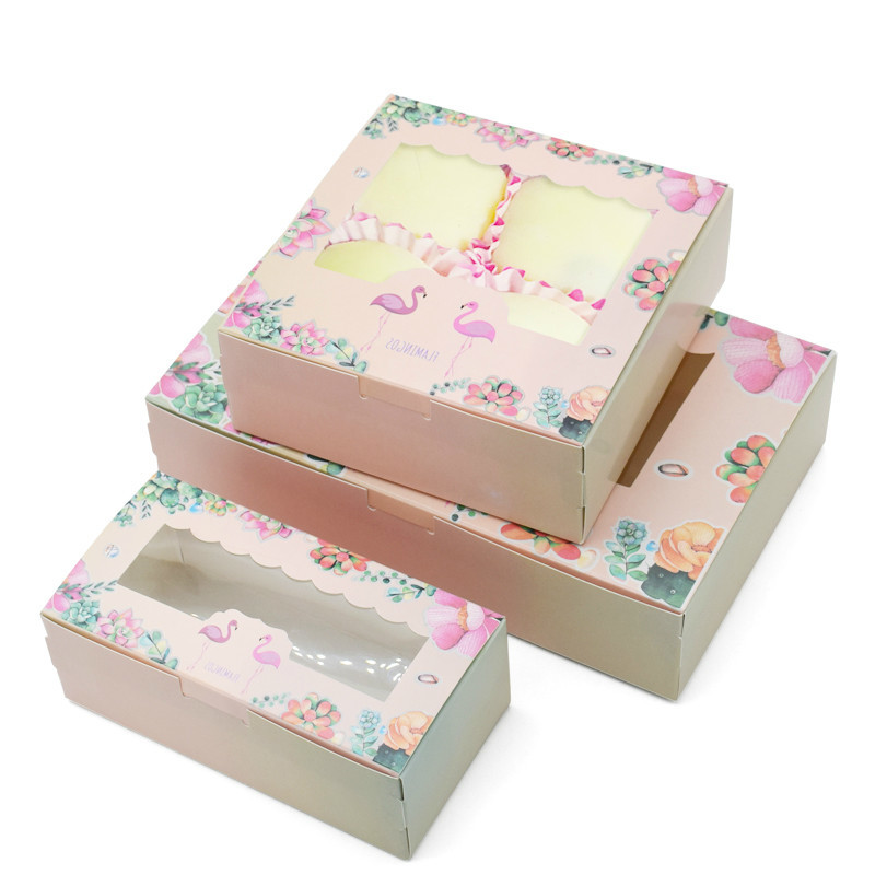 10 Pcs Flamingo Gift Paper Box Birthday Wedding Party Kraft Paper Box With Window Cake Packaging Candy Cookies Cupcake Boxes