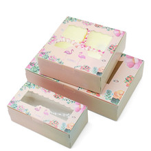 10 Pcs Flamingo Gift Paper Box Birthday Wedding Party Kraft With Window Cake Packaging Candy Cookies Cupcake Boxes