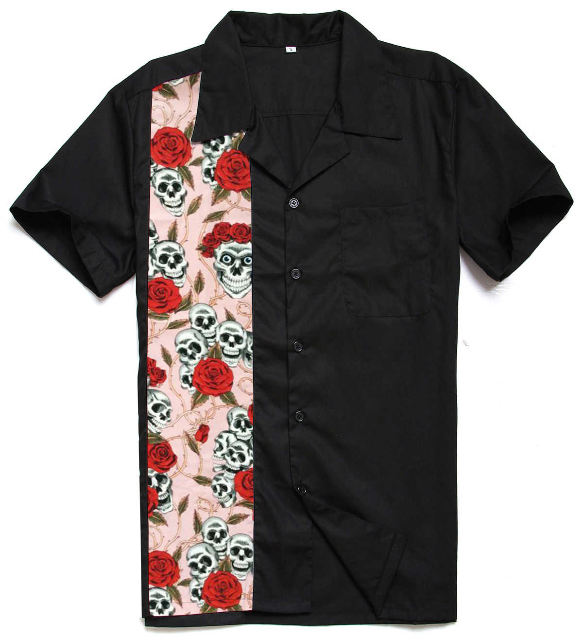 f5ab4bee7c88 Wholesale Male Red Rose Skull Short Sleeve Button Up Plus Size Tops  Rockabilly Vintage 50s Club