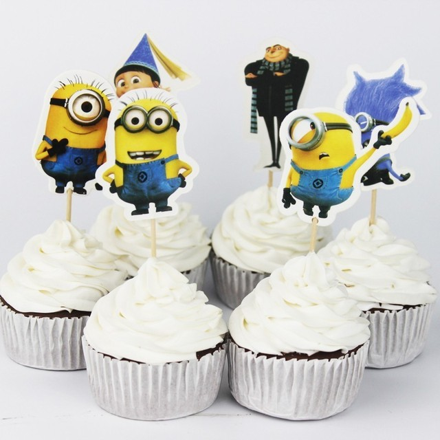 Minions Party Cupcake Toppers Picks Decoration For Kids Birthday