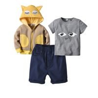 Cute Cartoon Coat+Short Sleeve T shirt+Shorts Pants Suits Baby Kids Clothing 3PCS/Set Cotton Girls Boys Casual Outfits for 2 5Y