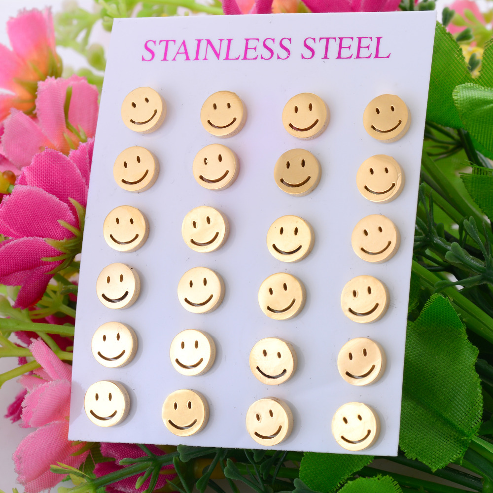 High Quality Smiling Face Stainless Steel Earring Gold Color Stud Earring for Men and Women Never Fade 025