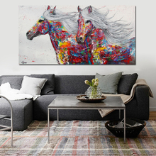 Graffiti Art Canvas Painting Wall Poster Print Modern Animal Two Horse Printed On Decoration No Framed