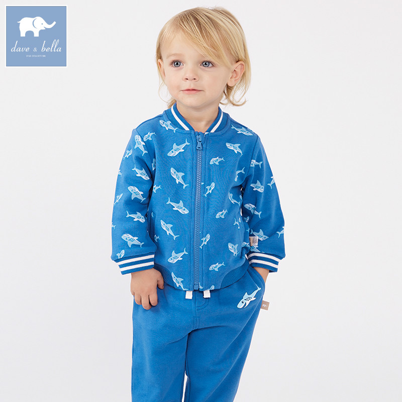 DBZ7246 dave bella spring baby boys blue clothing sets toddler children suit high quality toddler outfits Clothing Suits