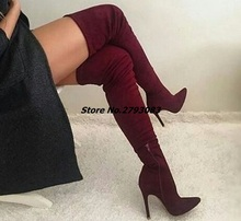 New Design Women Over the Knee Boots Faux  Suede Long Boot Red Gray Black Party Shoes Mujer Thin Heels Plus Size 46
