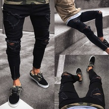 2019 Jeans Trousers Men Cool Black Hole Jeans Pants  Skinny Ripped Destroyed  Hip Hop Stretch Jeans Pants New Design Sexy Jeans недорого