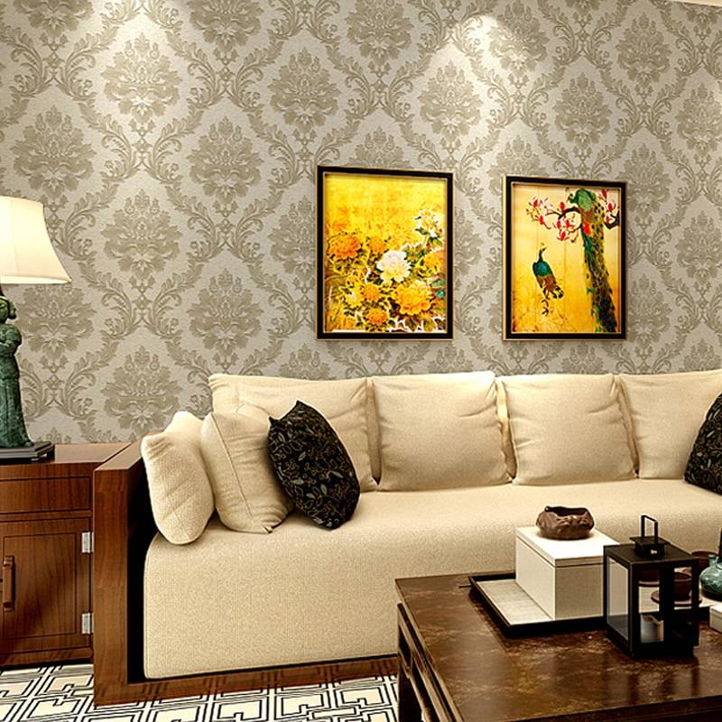 ФОТО 10M PVC Wallpaper Embossed Vintage Romantic European Glossy Stylish Modern Damask Wallpaper Living Room For Bedroom WP16077
