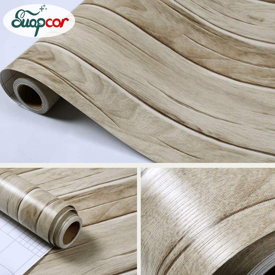 Купить с кэшбэком Bedroom Wall paper PVC Self adhesive Wallpaper Waterproof Tape Sticker Mediterranean Wood Striped Wall Stickers for Lliving room