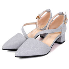 Low High heels sandals Ladies shoes 2016 Summer style Sexy Women shoes Pumps Med heel Shoes
