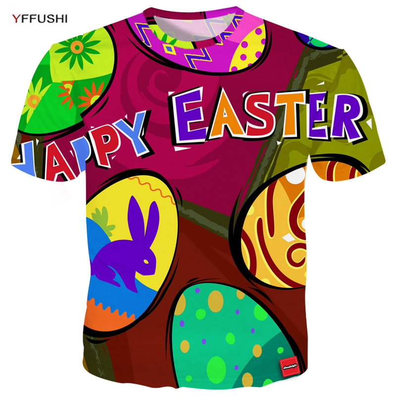 YFFUSHI Male 3D T-Shirts Fashion Festval t-shirt Easter Series Unique Colorful Egg 3D Print O-Neck Tops Tees Men Streetwear