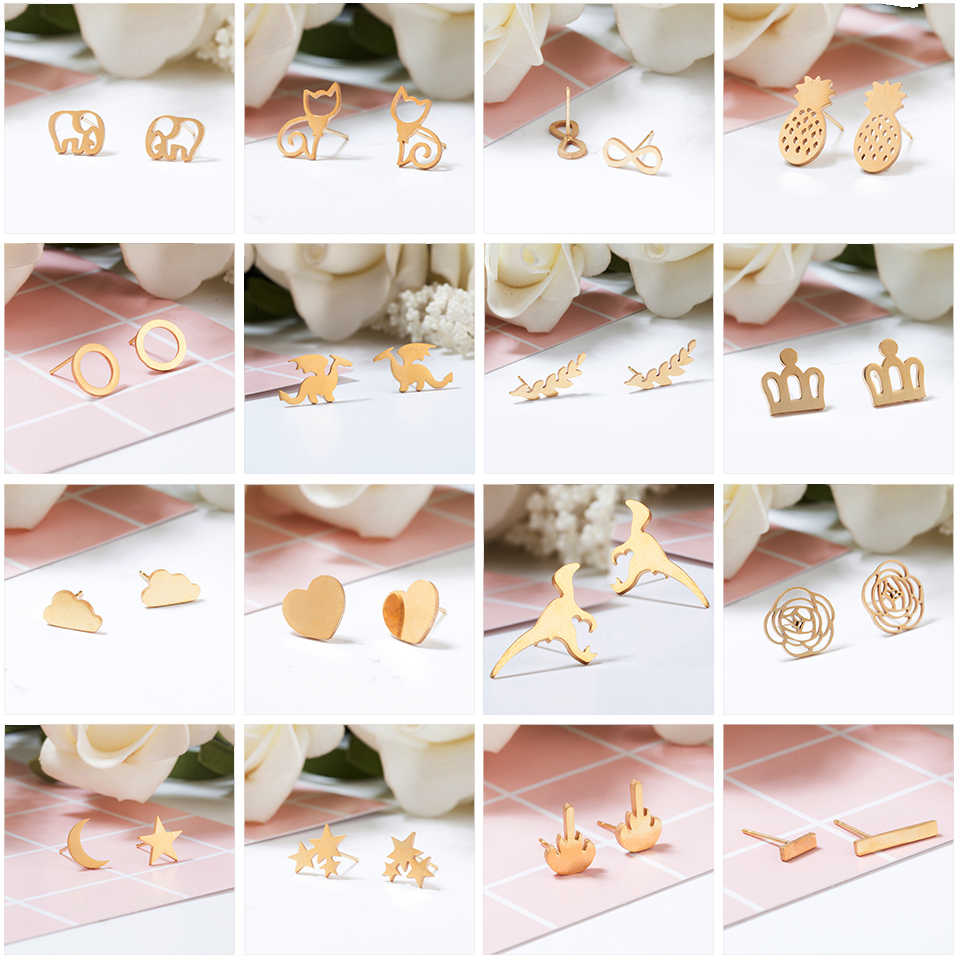 Women Golden Stainless Steel Cute Stud Earrings Carnations for Girls Animal Heart Leaves Cat Earrings Minimalist Jewelry