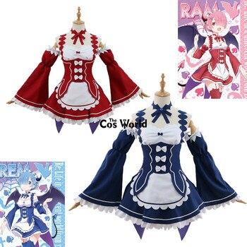 Re Zero Kara Hajimeru Isekai Seikatsu Ramu RAM Remu malvado demonio Maid  vestido uniforme traje Anime Cosplay disfraces efb7f95973c5