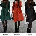 Новая Мода 2015 Весна Осень Свободные Симпатичные Платья Женщины Плюс Размер Одежды Женщины Цветочные Печатный Хлопок Зимние Платья