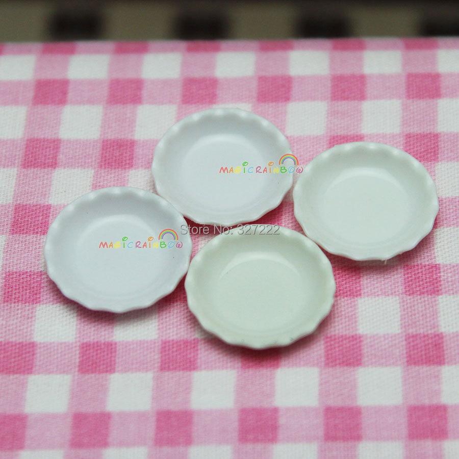 4pc Small Dishes Plates Mini Kitchen Dining Room White Dollhouse Miniature 1:12