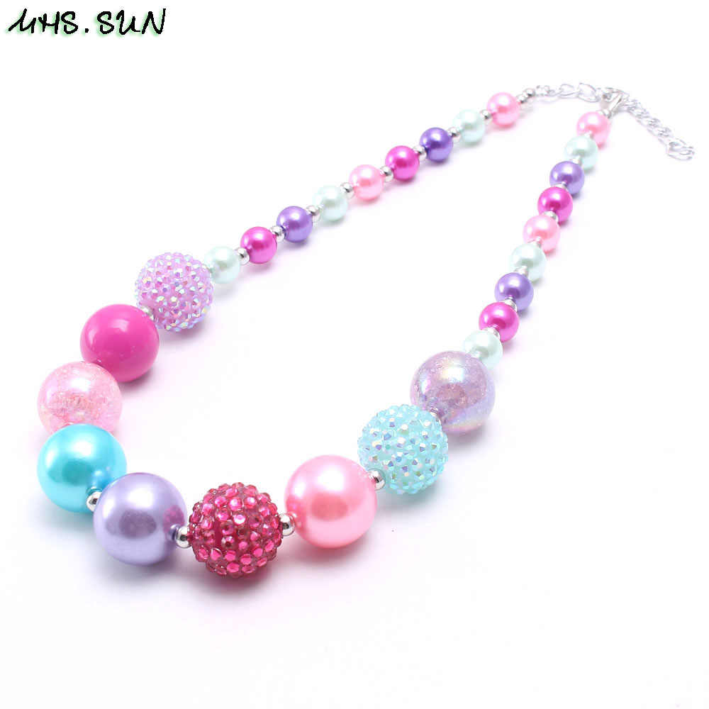 MHS.SUN New arrival child chunky beads necklace colorful girls bubblegum necklace handmade jewelry for kids toy gift 1pcs