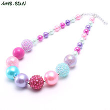 MHS.SUN New arrival child chunky beads necklace colorful girls bubblegum necklace handmade jewelry for kids toy gift 1pcs(China)