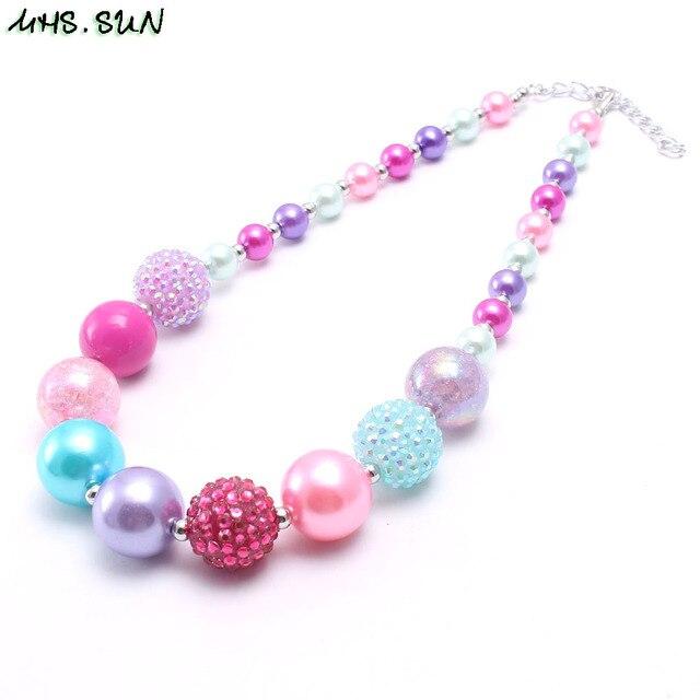 MHS. óculos de SOL Nova chegada criança chunky colar dos grânulos coloridos meninas bubblegum colar de jóias artesanais para crianças toy presente 1 pcs