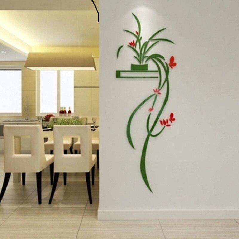 Купить с кэшбэком orchid 3D crystal Wall Sticker Acrylic TV backdrop Entrance decoration Living room window refrigerator home wall paper