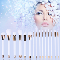 15pcs Set White Rose Gold Professional Cosmetic Makeup Brushes Set Make Up Brush Tools Kit Eye