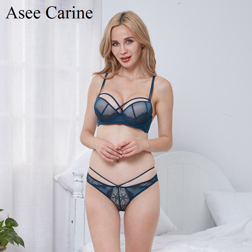 Asee Carine Woman Underwear Sets With Push Up Lace Floral Sexy Panty Bra Sets Black Dark ...