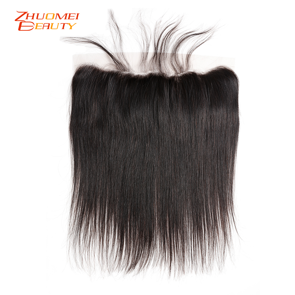 Peruvian Straight Remy Human Hair Lace Frontal Closure With Baby Hair 13*4 Ear To Ear Free Part Clourse 10-20inch Natural Colour